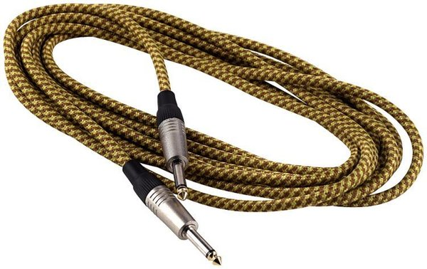 RockCable Instrument Cable - straight/straight, 6 m - Vintage Tweed